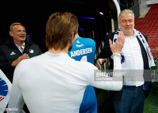 Lars Seier Christensen, shareholder in FC Copenhagen celebrate with Rasmus Falk of FC Copenhagen after the Danish Superliga match between FC...