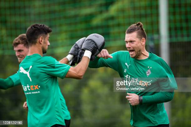 Lars Stindl and Max Gruen in action during a Box training session at the Training Camp of Borussia Moenchengladbach at Klosterpforte on August 20,...