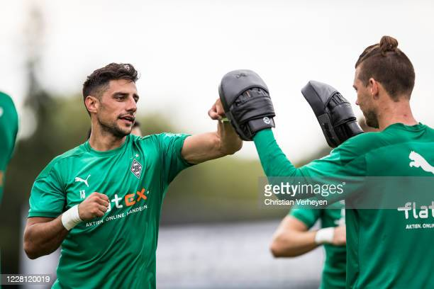 Lars Stindl and Max Gruen in action during a boxing training session at the Training Camp of Borussia Moenchengladbach at Klosterpforte on August 20,...