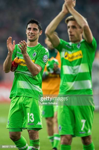 Lars Stindl and Patrick Herrmann of Moenchengladbach celebrate after winning the DFB Cup match between Fortuna Duesseldorf and Borussia...