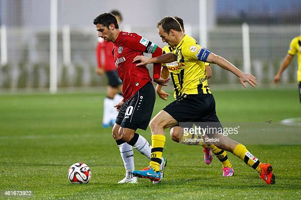 Lars Stindl and Steve von Bergen during a friendly match between Young Boys Bern and Hannover 96 on January 17 2015 in Belek Turkey