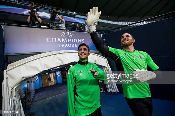 Lars Stindl and Tobias Sippel of Borussia Moenchengladbach during the training session ahead the Uefa Champions League match between Manchester City...