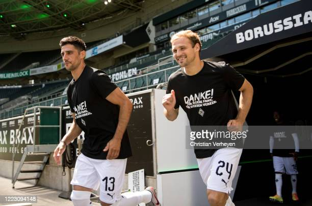 MOENCHENGLADBACH GERMANY JUNE Lars Stindl and Tony Jantschke of Borussia Moenchengladbach are seen ahead the Bundesliga match between Borussia...