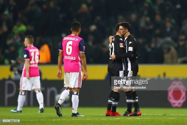 Lars Stindl and Vincenzo Grifo of Borussia Monchengladbach celebate victory after the Bundesliga match between Borussia Moenchengladbach and...