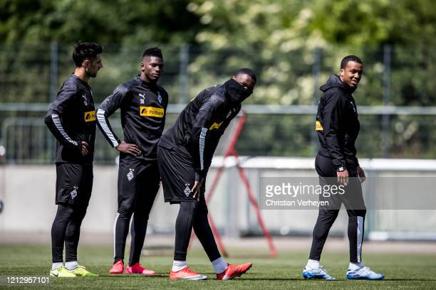 Lars Stindl, Breel Embolo, Marcus Thuram and Alassane Plea are seen during a training session of Borussia Moenchengladbach at Borussia-Park on May...