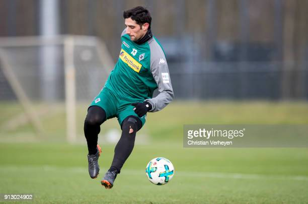 Lars Stindl in action during a training session of Borussia Moenchengladbach at BorussiaPark on February 01 2018 in Moenchengladbach Germany