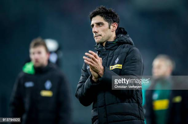 Lars Stindl looks disappointed after the Bundesliga match between Borussia Moenchengladbach and RB Leipzig at BorussiaPark on Feburary 03 2018 in...