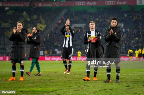 Lars Stindl Michael Cuisance Patrick Herrmann and Jannik Vestergaard of Borussia Moenchengladbach look disappointed after the Bundesliga match...