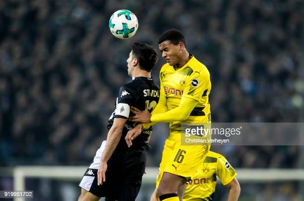 Lars Stindl of Borussia Moenchengladbach and Manuel Akanji of Borussia Dortmund battle for the ball during the Bundesliga match between Borussia...