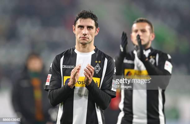 Lars Stindl of Borussia Moenchengladbach and Raul Bobadilla of Borussia Moenchengladbach looks dejected during the Bundesliga match between VfL...