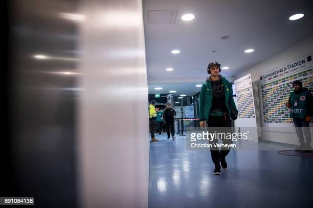 Lars Stindl of Borussia Moenchengladbach arrives at the stadium ahead the Bundesliga match between SC Freiburg and Borussia Moenchengladbach at...