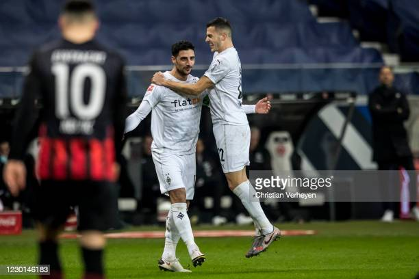 Lars Stindl of Borussia Moenchengladbach celebrate after he score his teams first goal during the Bundesliga match between Eintracht Frankfurt and...