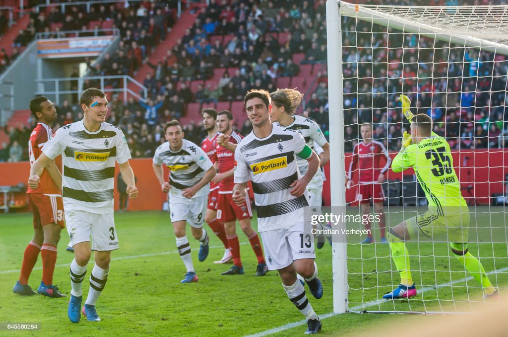 Lars Stindl of Borussia Moenchengladbach celebrate after he scores his teams first goal during the Bundesliga match between FC Ingolstadt 04 and Borussia Moenchengladbach at Audi Sportpark on February 26, 2017 in Ingolstadt, Germany.