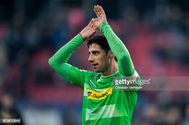 Lars Stindl of Borussia Moenchengladbach celebrate his teams win after the Bundesliga match between Hannover 96 and Borussia Moenchengladbach at...