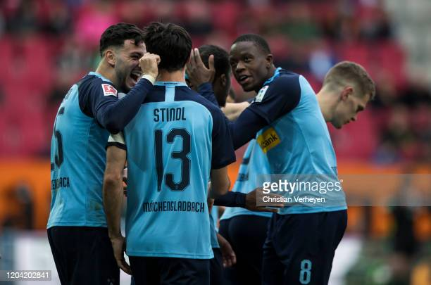 Lars Stindl of Borussia Moenchengladbach celebrate with his team mates after he score his teams second goal during the Bundesliga match between FC...