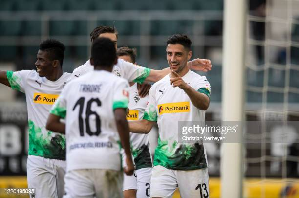 Lars Stindl of Borussia Moenchengladbach celebrate with his team mates after he score his teams third goal during the Bundesliga match between...