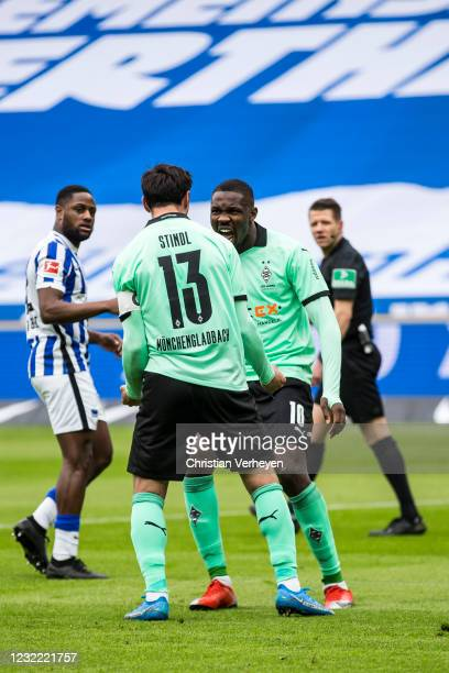 Lars Stindl of Borussia Moenchengladbach celebrates after he scores his team's second goal from the penalty spot during the Bundesliga match between...