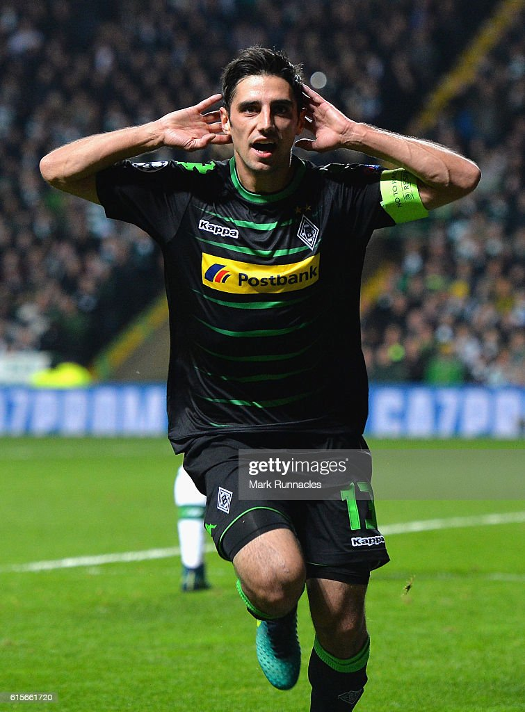 Lars Stindl of Borussia Moenchengladbach celebrates after scoring the opening goal of the game during the UEFA Champions League group C match between Celtic FC and VfL Borussia Moenchengladbach at Celtic Park on October 19, 2016 in Glasgow, Scotland.