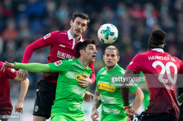 Lars Stindl of Borussia Moenchengladbach in action during the Bundesliga match between Hannover 96 and Borussia Moenchengladbach at HDIArena on...