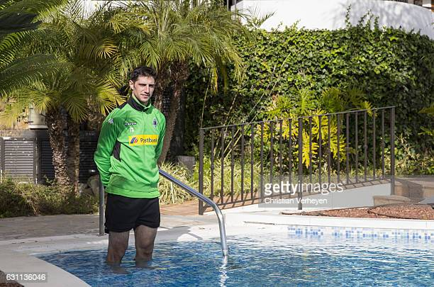 Lars Stindl of Borussia Moenchengladbach in the hotel pool after a Training Session at Borussia Moenchengladbach Training Camp on January 07, 2017 in...