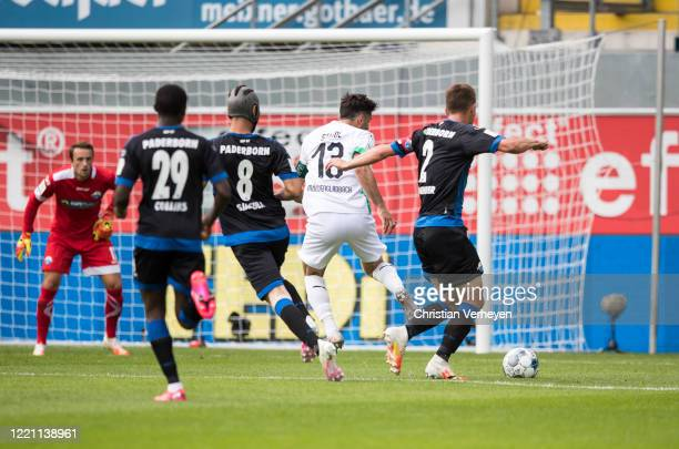 Lars Stindl of Borussia Moenchengladbach is fouled by Uwe Huehnemeier of SC Paderborn during the Bundesliga match between SC Paderborn and Borussia...