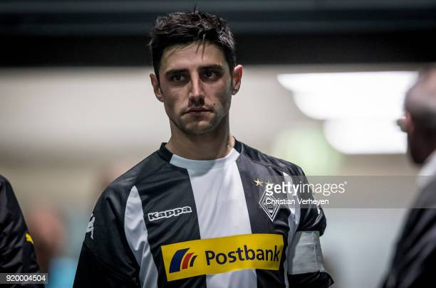 Lars Stindl of Borussia Moenchengladbach looks concentrated prior the second half of the Bundesliga match between Borussia Moenchengladbach and...