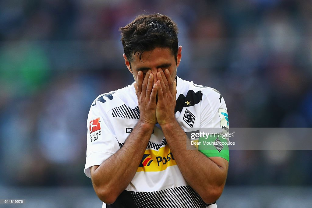 Lars Stindl of Borussia Moenchengladbach looks dejected after a missed chance on goal during the Bundesliga match between Borussia Moenchengladbach and Hamburger SV at Borussia-Park on October 15, 2016 in Moenchengladbach, Germany.