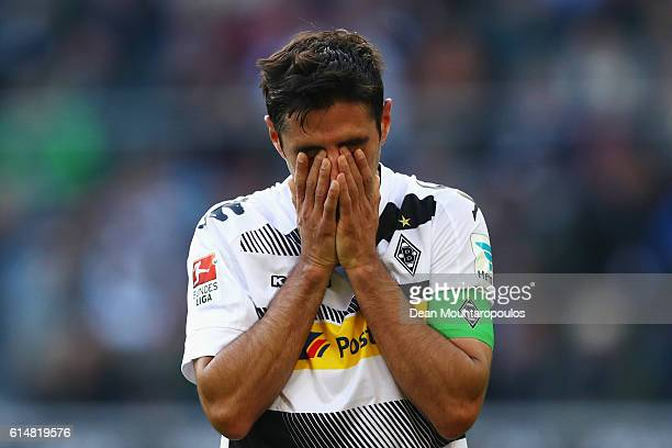 Lars Stindl of Borussia Moenchengladbach looks dejected after a missed chance on goal during the Bundesliga match between Borussia Moenchengladbach...