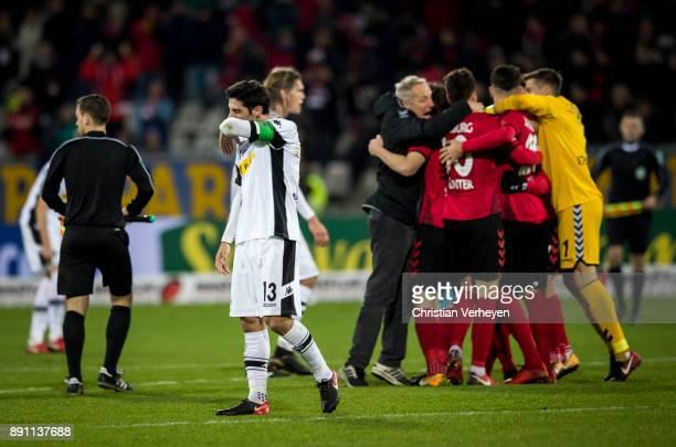 Lars Stindl of Borussia Moenchengladbach looks dejected after the Bundesliga match between SC Freiburg and Borussia Moenchengladbach at...