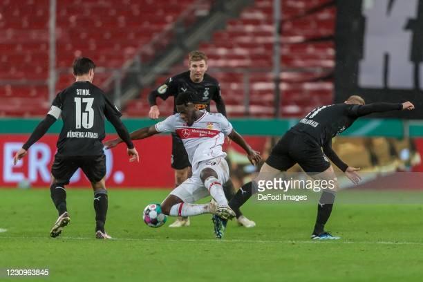 Lars Stindl of Borussia Moenchengladbach, Orel Mangala of VfB Stuttgart, Christoph Kramer of Borussia Moenchengladbach and Oscar Wendt of Borussia...