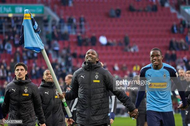 Lars Stindl of Borussia Moenchengladbach Raffael of Borussia Moenchengladbach Marcus Thuram of Borussia Moenchengladbach and Denis Zakaria of...