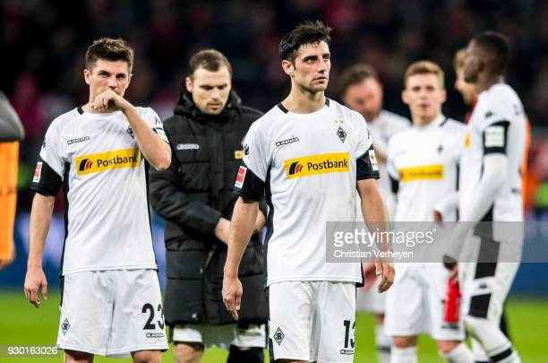 Lars Stindl of Borussia Moenchengladbach react after the Bundesliga match between Bayer 04 Leverkusen and Borussia Moenchengladbach at BayArena on...