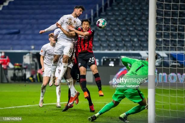 Lars Stindl of Borussia Moenchengladbach scores his teams third goal during the Bundesliga match between Eintracht Frankfurt and Borussia...