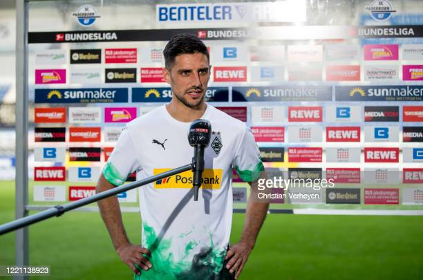 Lars Stindl of Borussia Moenchengladbach talks to the media after the Bundesliga match between SC Paderborn and Borussia Moenchengladbach at...