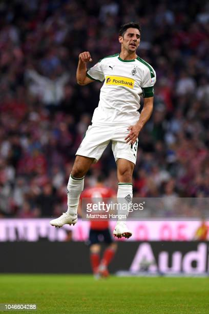 Lars Stindl of Borussia Monchengladbach celebrates after scoring his team's second goal during the Bundesliga match between FC Bayern Muenchen and...