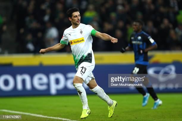 Lars Stindl of Borussia Monchengladbach celebrates after scoring his team's second goal during the Bundesliga match between Borussia Moenchengladbach...