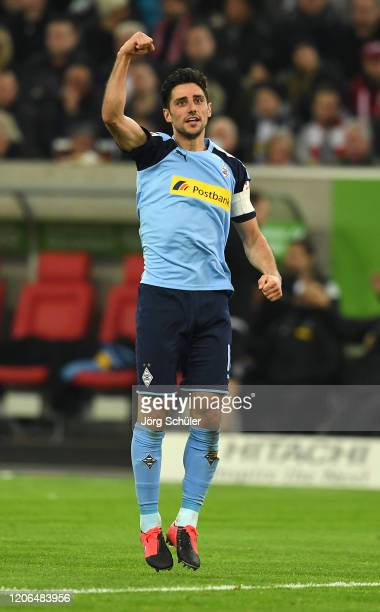 Lars Stindl of Borussia Monchengladbach celebrates after scoring his team's second goal during the Bundesliga match between Fortuna Duesseldorf and...