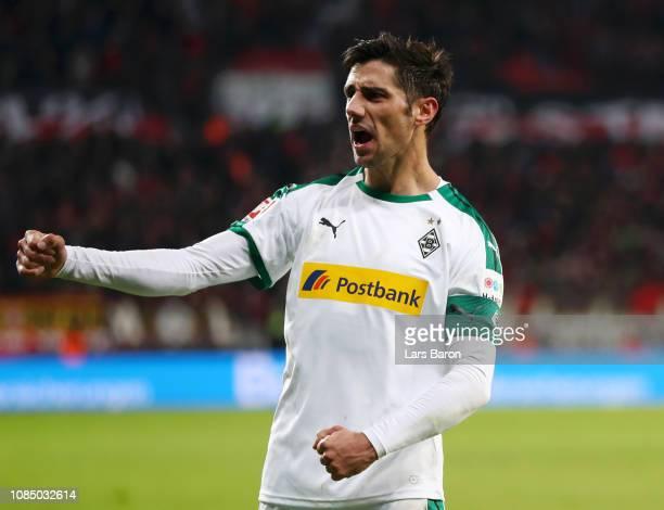 Lars Stindl of Borussia Monchengladbach celebrates following the Bundesliga match between Bayer 04 Leverkusen and Borussia Moenchengladbach at...