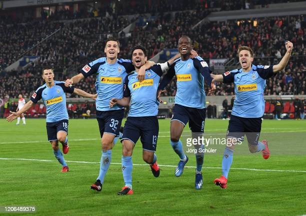 Lars Stindl of Borussia Monchengladbach celebrates with teammates after scoring his team's third goal during the Bundesliga match between Fortuna...