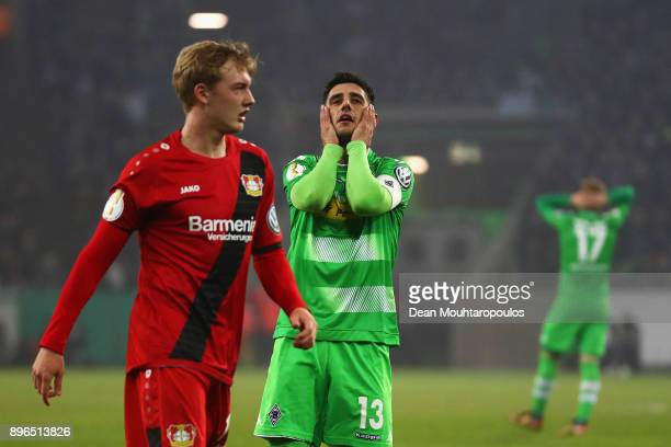 Lars Stindl of Borussia Monchengladbach reacts to a missed chance on goal during the DFBPokal match between Borussia Moenchengladbach and Bayer...