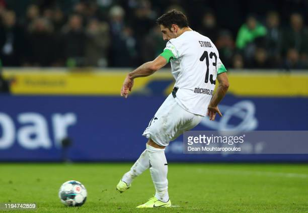 Lars Stindl of Borussia Monchengladbach takes a penalty to score his sides second goal during the Bundesliga match between Borussia Moenchengladbach...