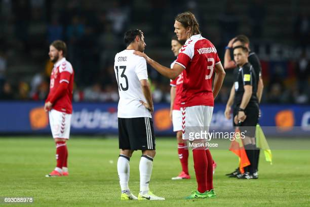 Lars Stindl of Germany and Jannik Vestergaard of Denmark talk after the friendly match between Denmark v Germany on June 6 2017 in Brondby Denmark