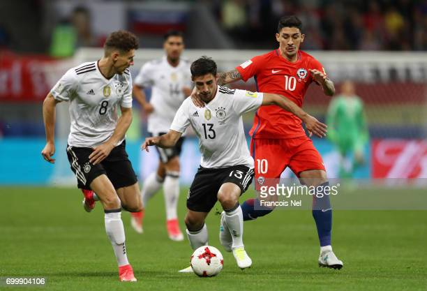 Lars Stindl of Germany and Pablo Hernandez of Chile battle for possession during the FIFA Confederations Cup Russia 2017 Group B match between...