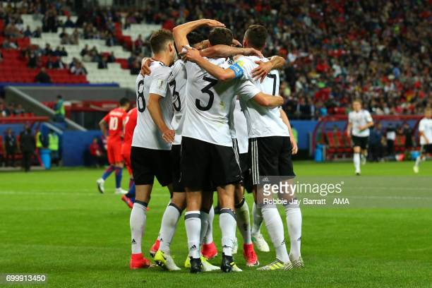 Lars Stindl of Germany celebrates scoring a goal to make the score 11 with his teammates during the FIFA Confederations Cup Russia 2017 Group B match...