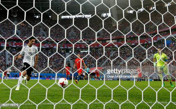 Lars Stindl of Germany celebrates scoring his sides first goal as Claudio Bravo of Chile looks on during the FIFA Confederations Cup Russia 2017...