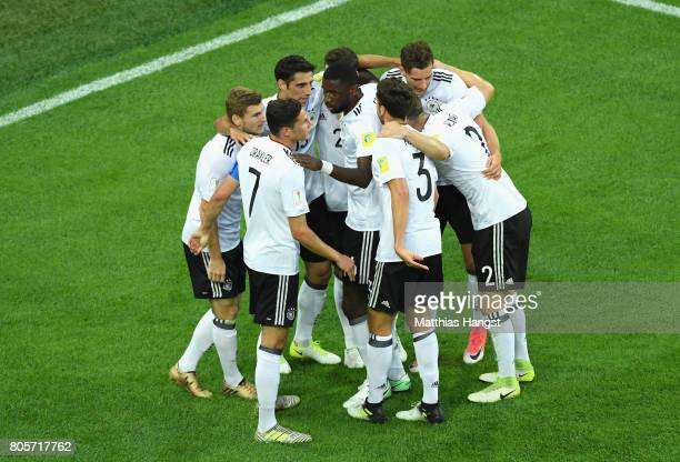 Lars Stindl of Germany celebrates scoring his sides first goal with his Germany team mates during the FIFA Confederations Cup Russia 2017 Final...