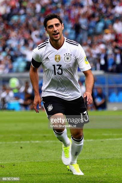 Lars Stindl of Germany celebrates scoring the first goal for Germany during the FIFA Confederations Cup Russia 2017 Group B match between Australia...