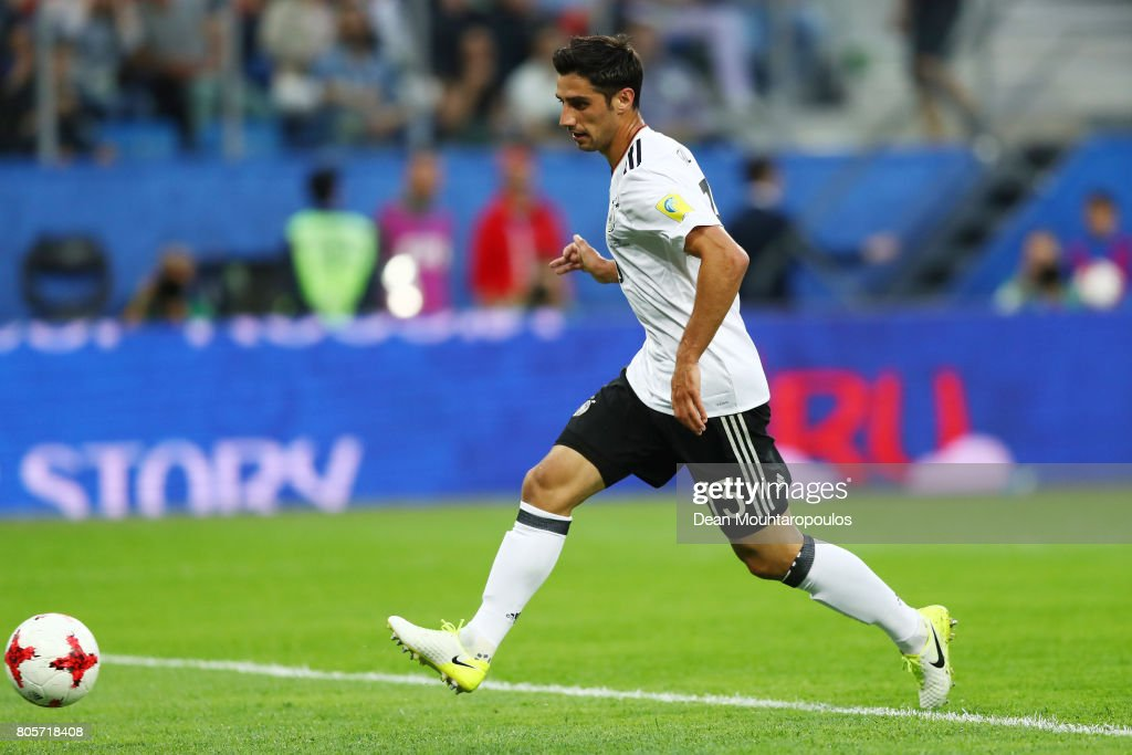Lars Stindl of Germany scores his sides first goal during the FIFA Confederations Cup Russia 2017 Final between Chile and Germany at Saint Petersburg Stadium on July 2, 2017 in Saint Petersburg, Russia.