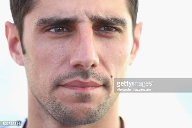 Lars Stindl of Germany talks to the media during a mixed zone press conference prior to a team Germany training session at Park Arena training ground...
