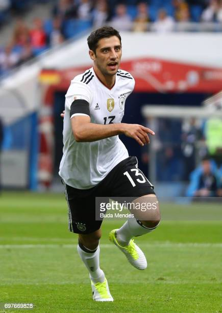 Lars Stindl of Grmany celebrates scoring his sides first goal during the FIFA Confederations Cup Russia 2017 Group B match between Australia and...
